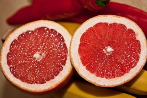 World Diabetes Day. Food for diabetes, red grapefruit.